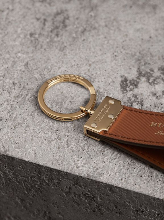 Trench Leather Key Ring in Tan | Burberry - cell image 1