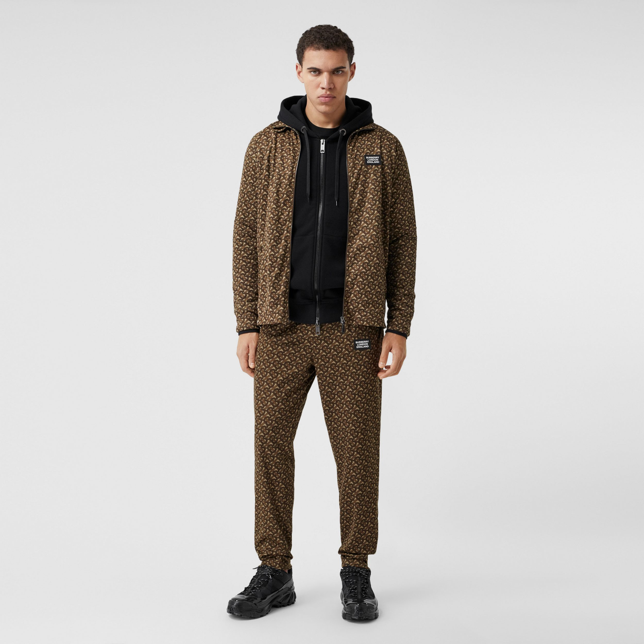 Monogram Print Technical Twill Jogging Pants in Bridle Brown - Men | Burberry - 1