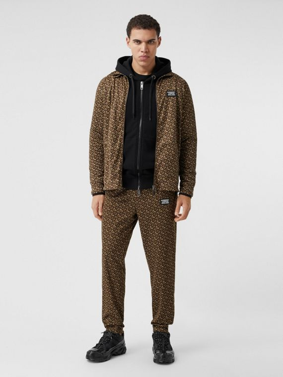 Monogram Print Technical Twill Jogging Pants in Bridle Brown