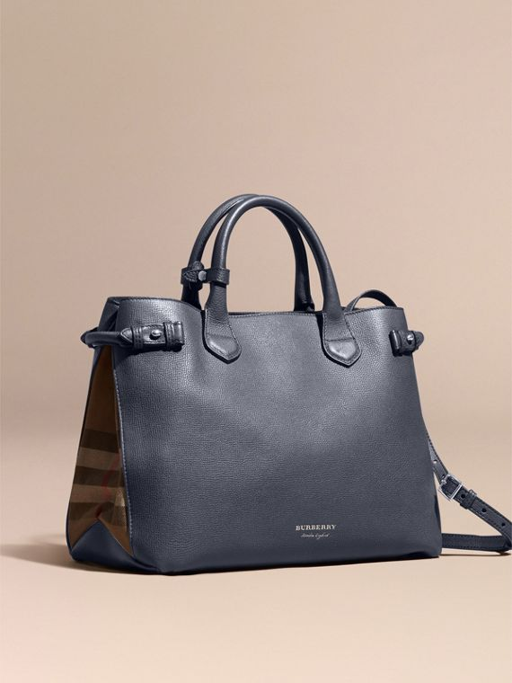 Sac The Banner medium en cuir et coton House check (Bleu Encre)