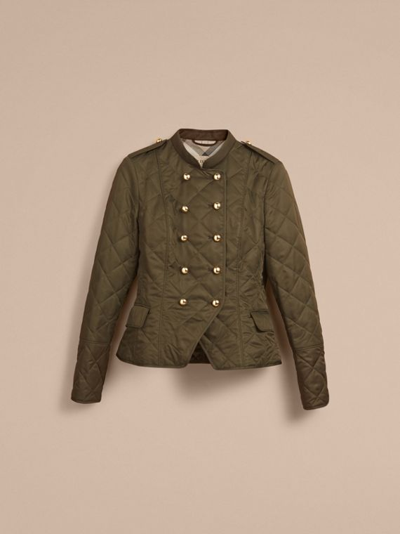 Double-breasted Quilted Military Jacket in Dark Olive - Women | Burberry - cell image 3