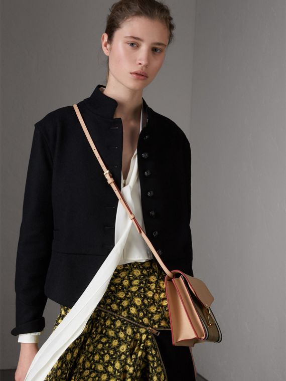 Small Leather and House Check Crossbody Bag in Pale Apricot - Women | Burberry Singapore - cell image 3