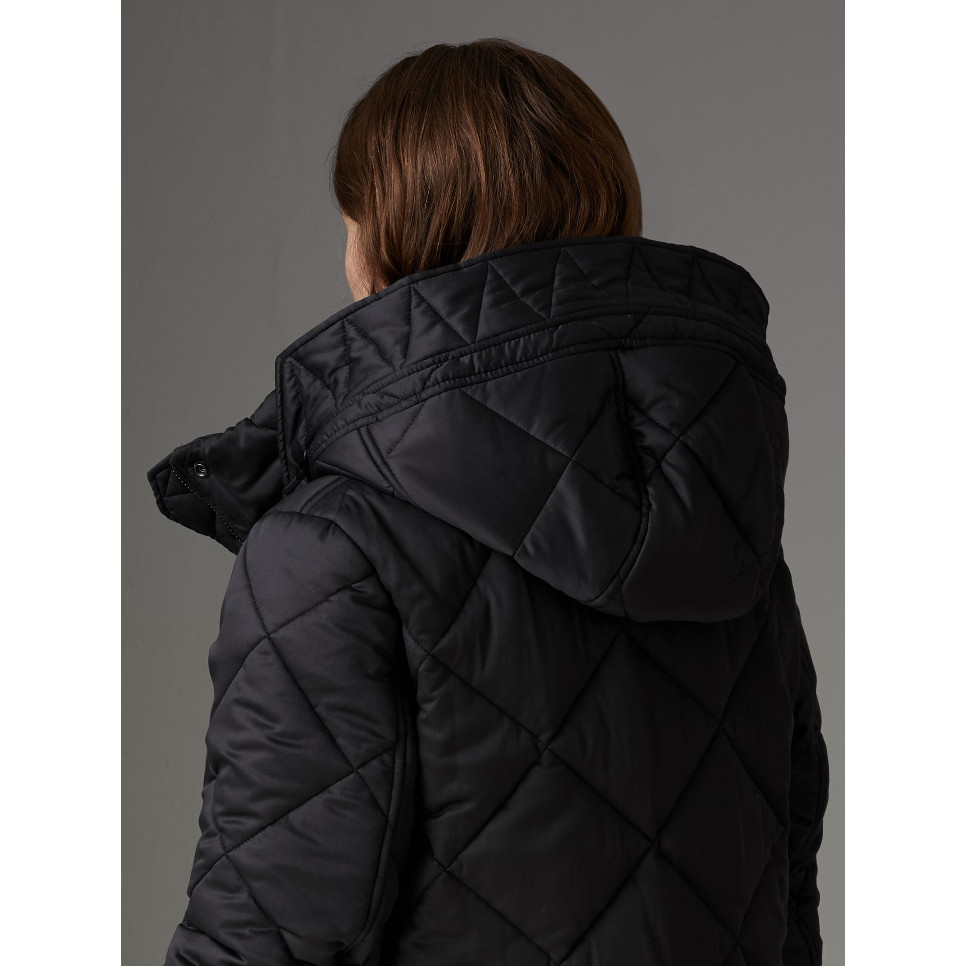 Detachable Hood Quilted Oversized Jacket in Black - Women | Burberry - gallery image 4