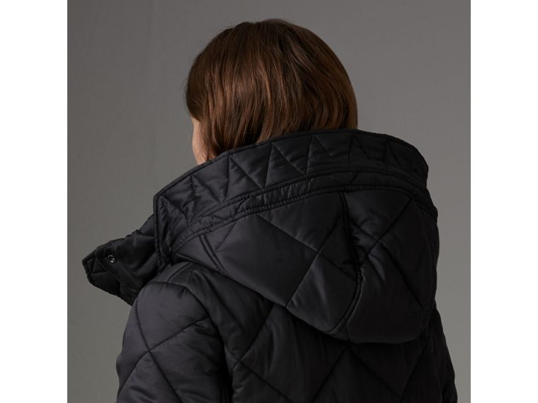 Detachable Hood Quilted Oversized Jacket in Black - Women | Burberry - cell image 4