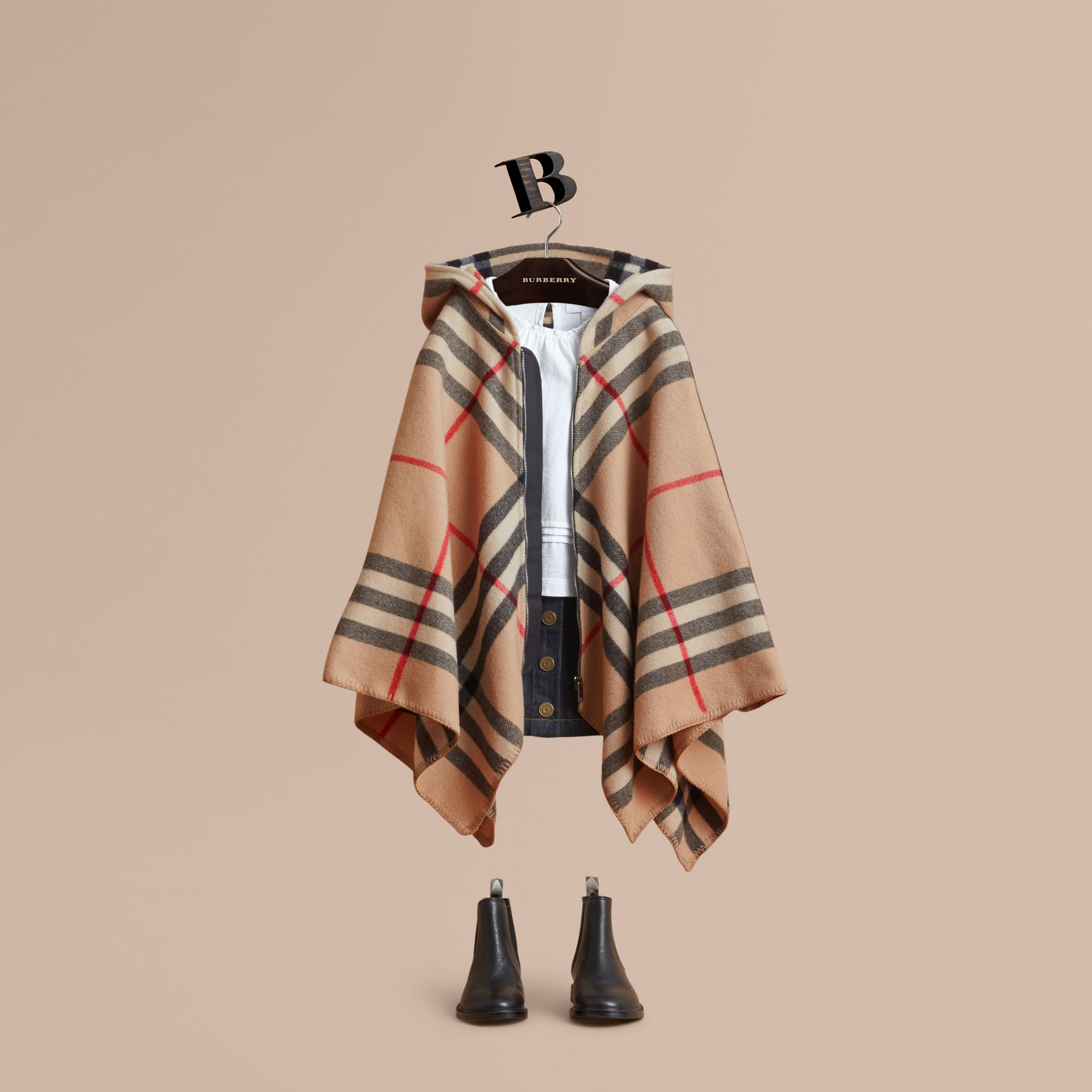 Check Wool Cashmere Hooded Poncho in New Classic - Girl | Burberry - gallery image 1