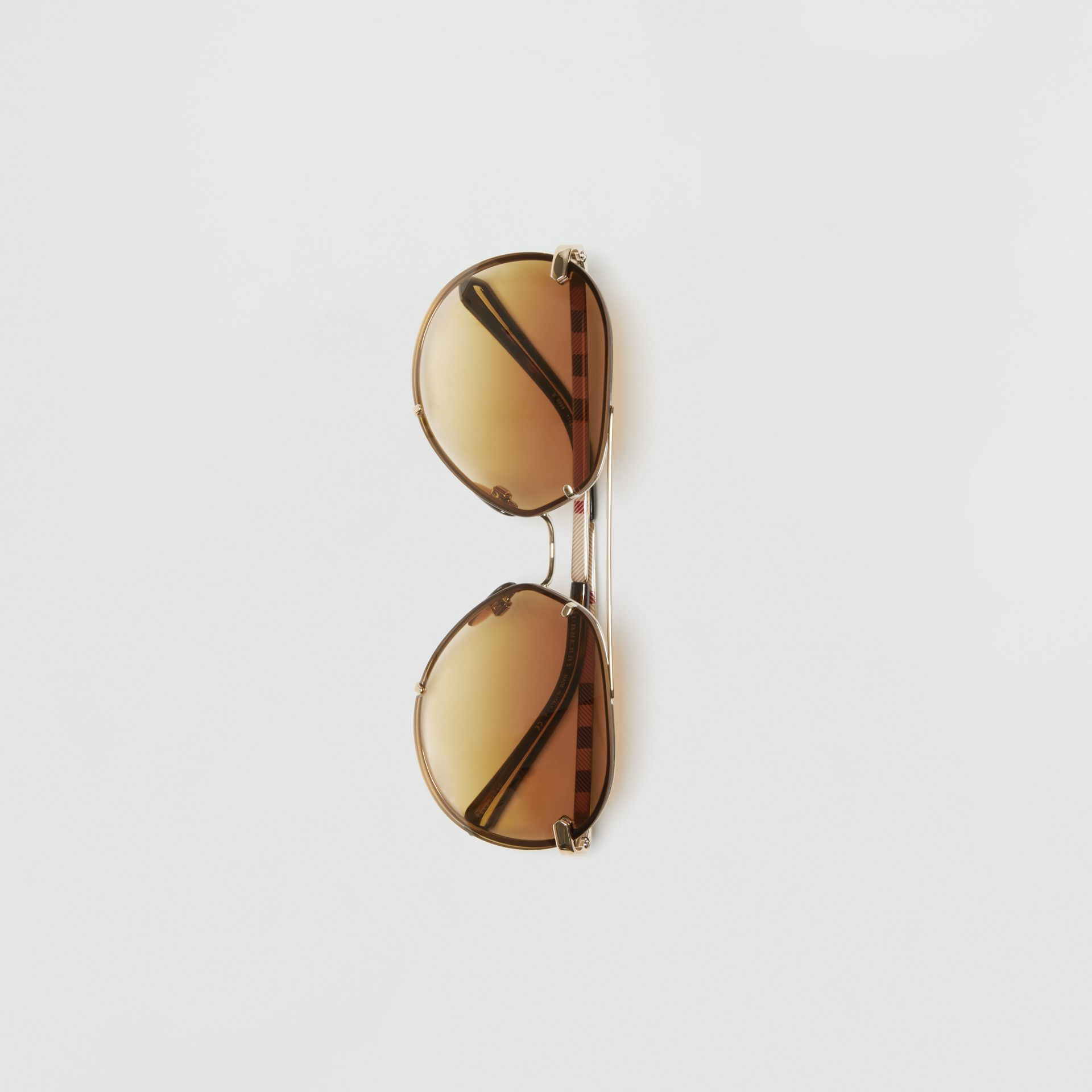 Check Detail Pilot Sunglasses in Brown - Women | Burberry - gallery image 3