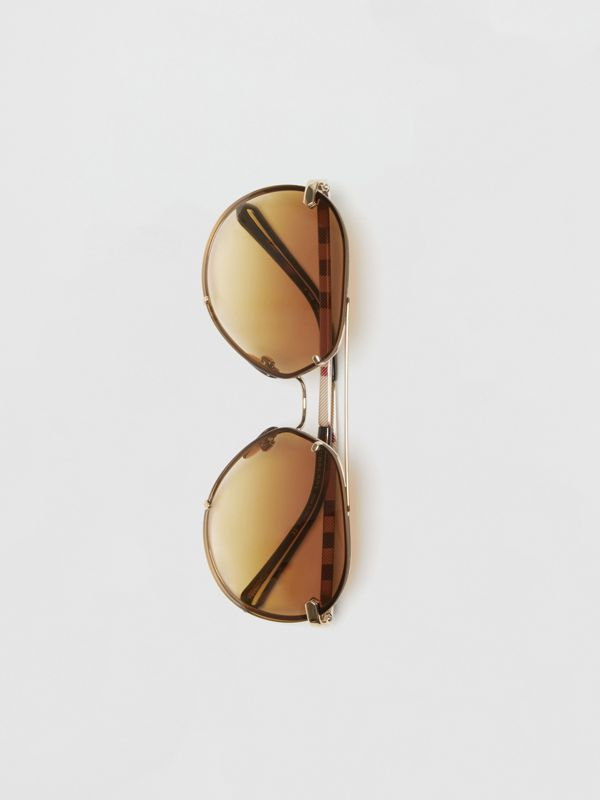 Check Detail Pilot Sunglasses in Brown - Women | Burberry United Kingdom - cell image 3
