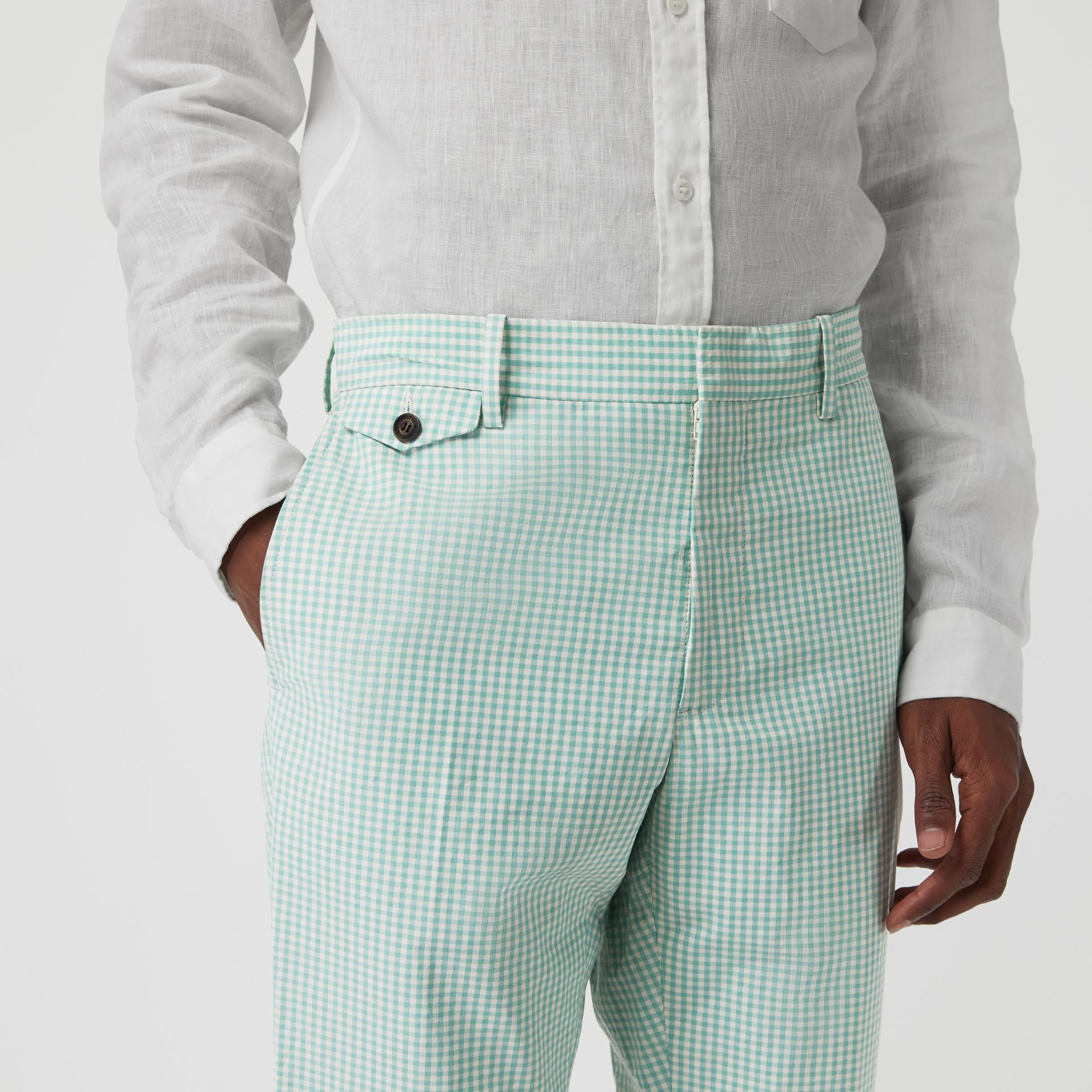 Gingham Cotton Tailored Trousers in Pale Opal - Men | Burberry Canada - gallery image 1