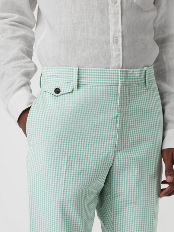 Gingham Cotton Tailored Trousers in Pale Opal - Men | Burberry Canada - cell image 1