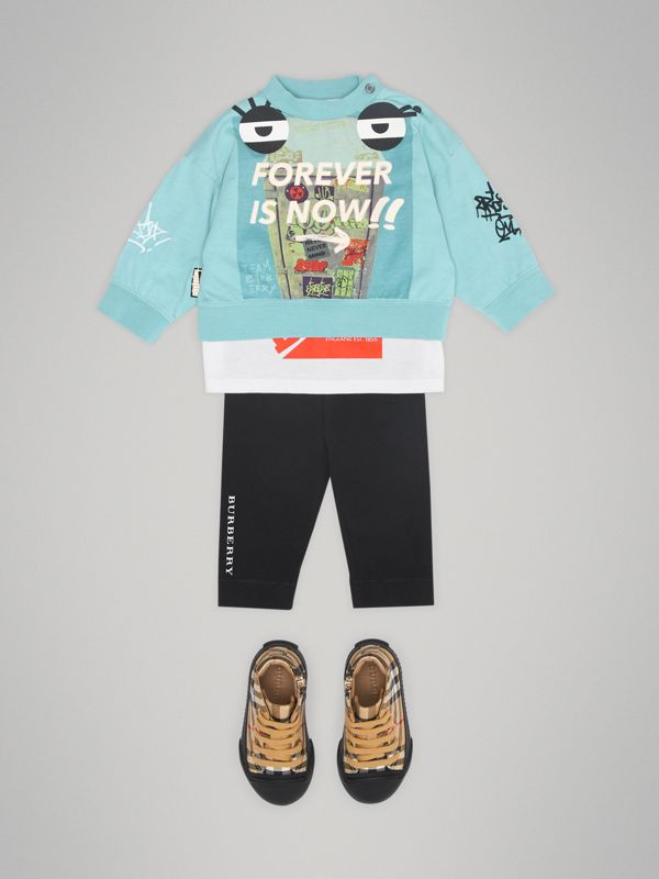 Sweat-shirt en coton à imprimé « Forever is Now » (Turquoise) - Enfant | Burberry - cell image 2
