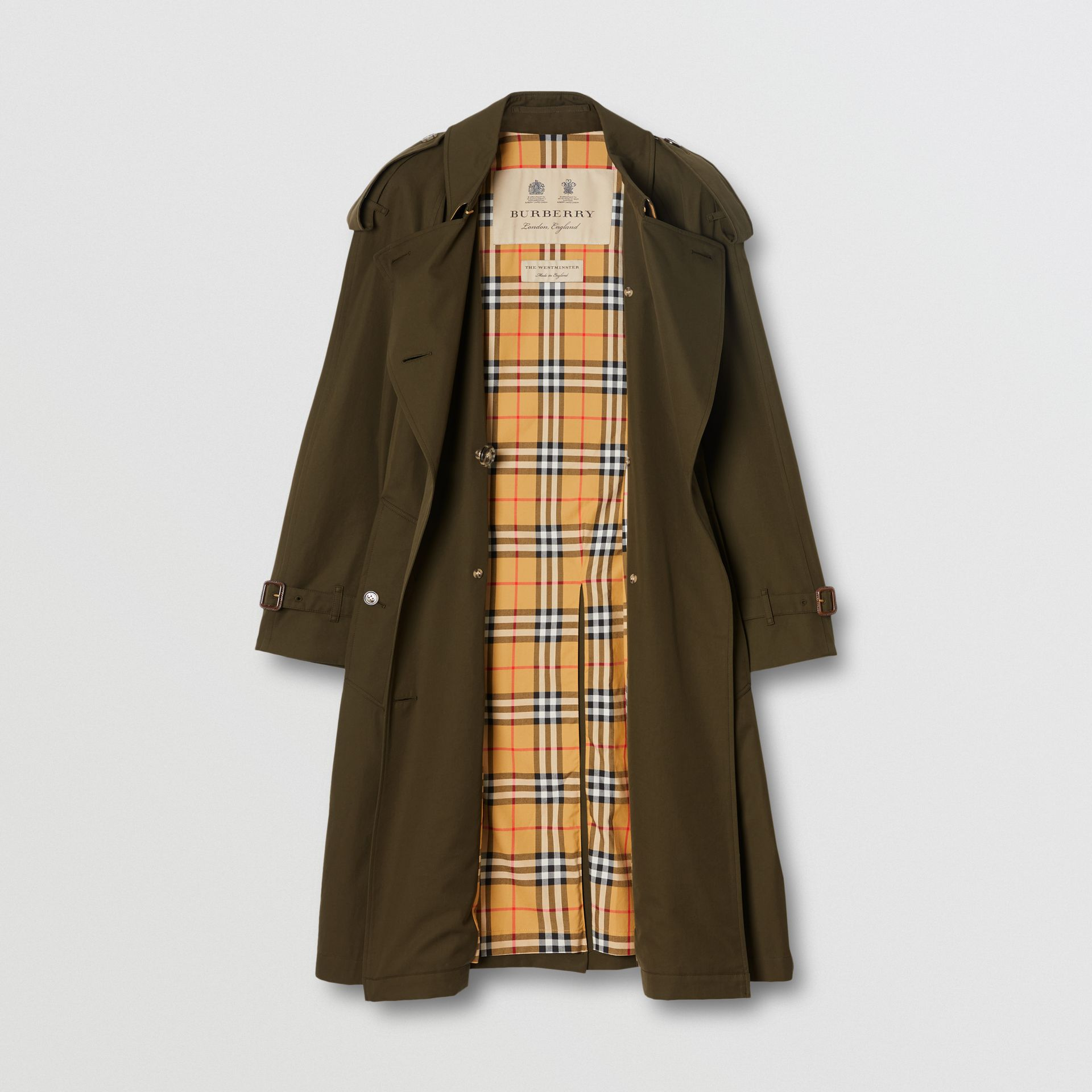 Tropical Gabardine Mid-length Trench Coat in Dark Military Khaki - Women | Burberry - gallery image 3
