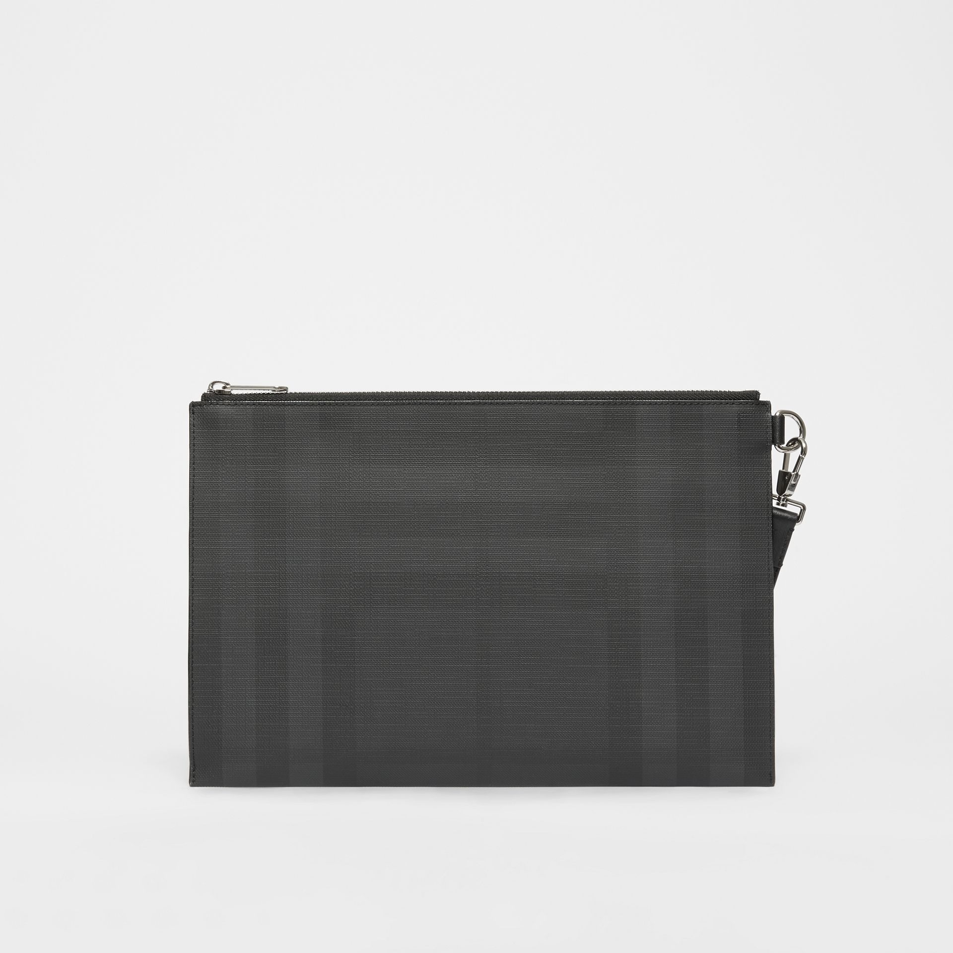 Logo Graphic London Check Zip Pouch in Dark Charcoal - Men | Burberry United States - gallery image 9