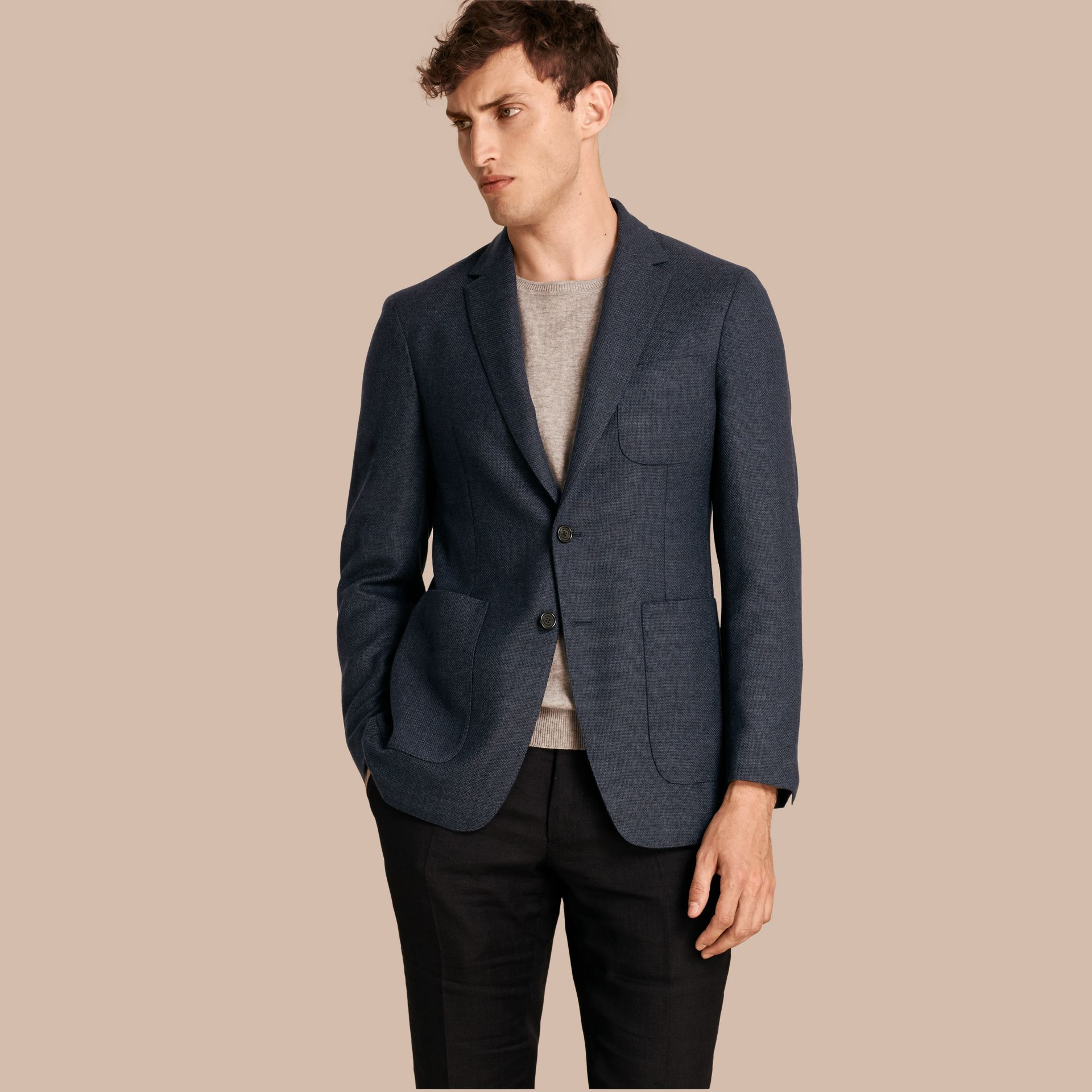 Storm blue Modern Fit Wool Cashmere Hopsack Tailored Jacket - gallery image 1