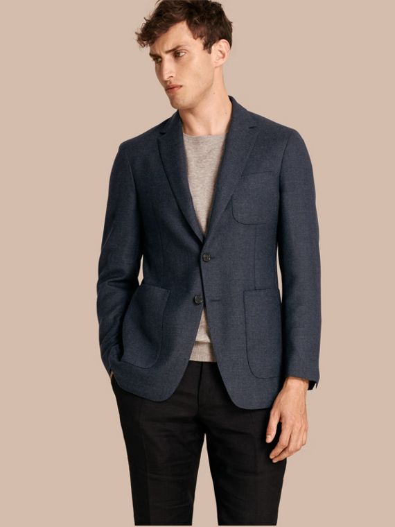 Modern Fit Wool Cashmere Hopsack Tailored Jacket