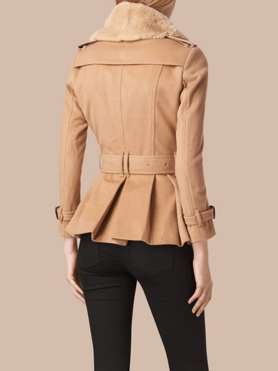 Camel Detachable Fur Trim Skirted Wool Jacket - cell image 2