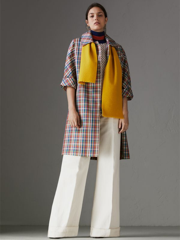 Embroidered Felted Wool Scarf in Saffron | Burberry Singapore - cell image 2