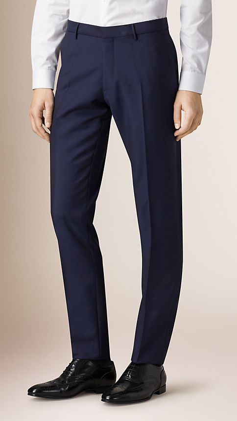 Royal navy Slim Fit Wool Mohair Trousers Royal Navy - Image 1