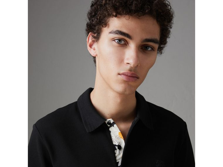 Daisy Print Trim Cotton Piqué Polo Shirt in Black - Men | Burberry - cell image 1