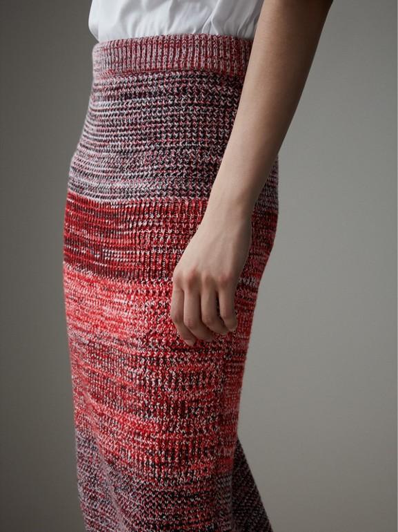 Saia de cashmere, algodão e lã em fio mouliné (Vermelho/preto) - Mulheres | Burberry - cell image 1