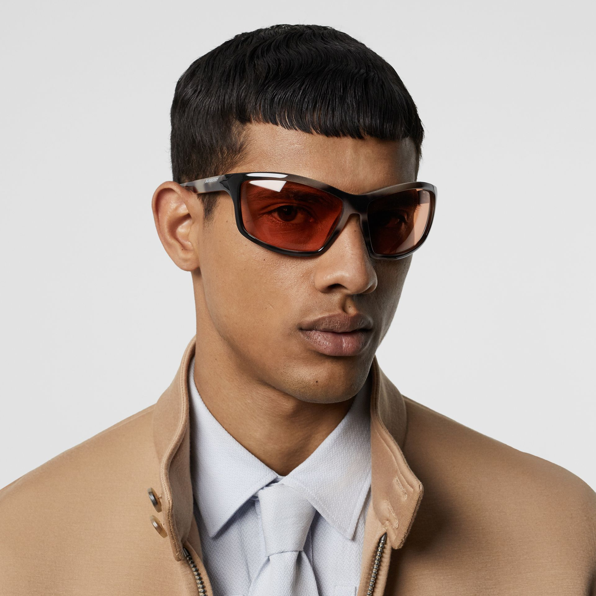 Wrap Frame Sunglasses in Orange - Men | Burberry - gallery image 2