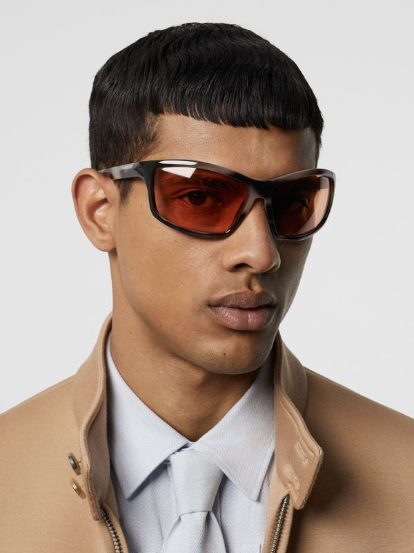 Wrap Frame Sunglasses in Orange - Men | Burberry - cell image 2