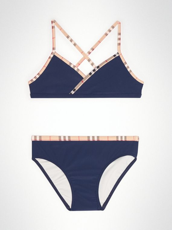 Check Trim Bikini in Navy