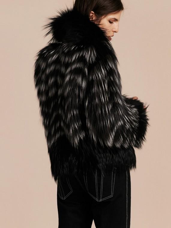 Black/white Chevron Stripe Fox Fur Jacket - cell image 2