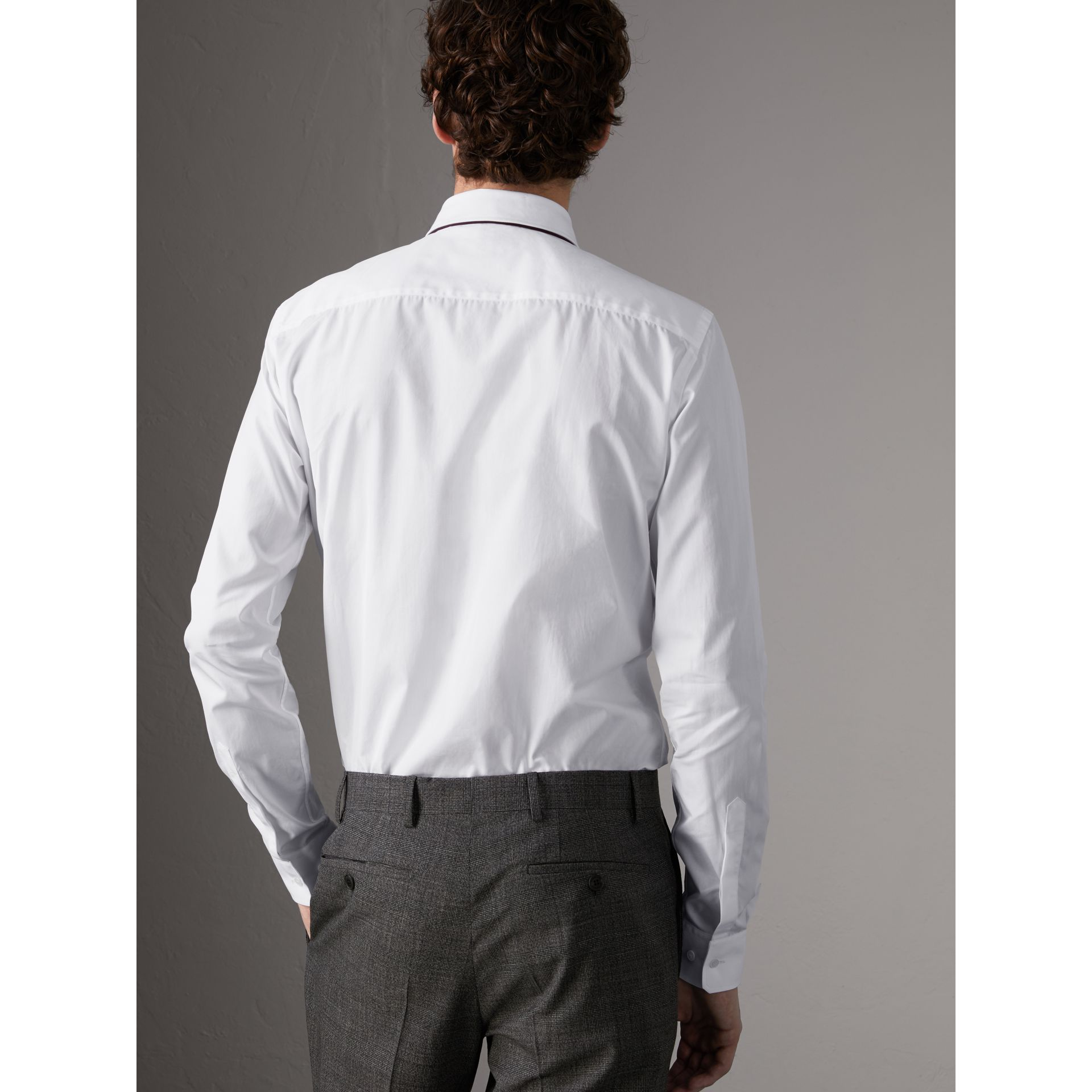 Slim Fit Cotton Poplin Shirt in White - Men | Burberry - gallery image 3