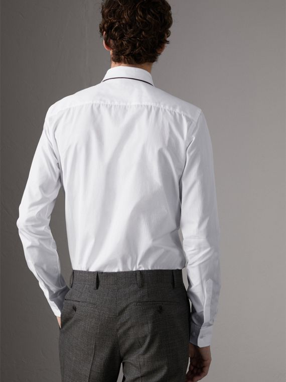 Slim Fit Cotton Poplin Shirt in White - Men | Burberry Australia - cell image 2