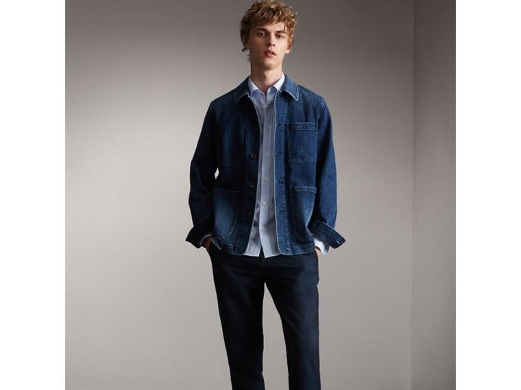 Striped Cotton Blend Shirt in Light Blue - Men | Burberry Hong Kong - cell image 4