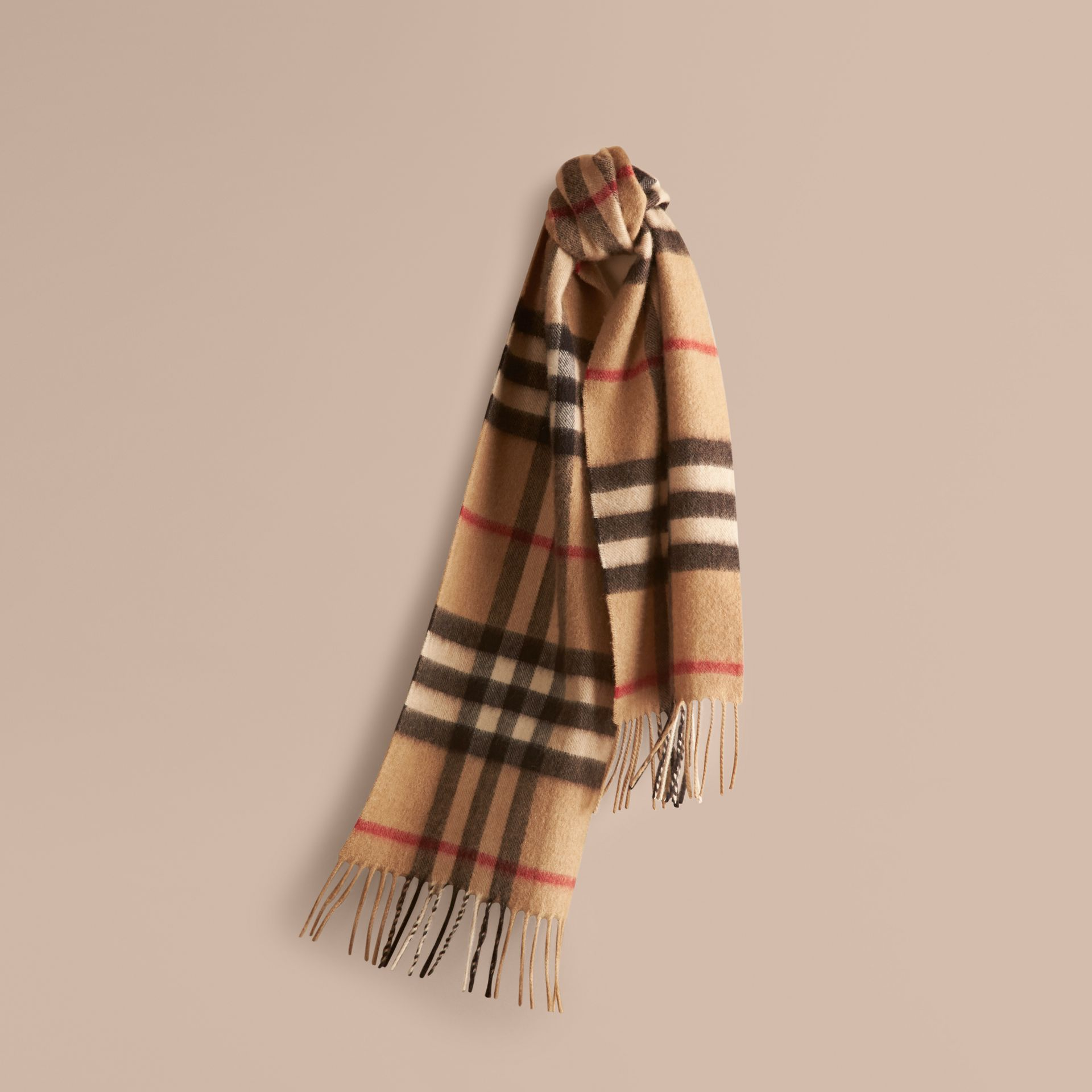 The Mini Classic Cashmere Scarf in Check in Camel - gallery image 5