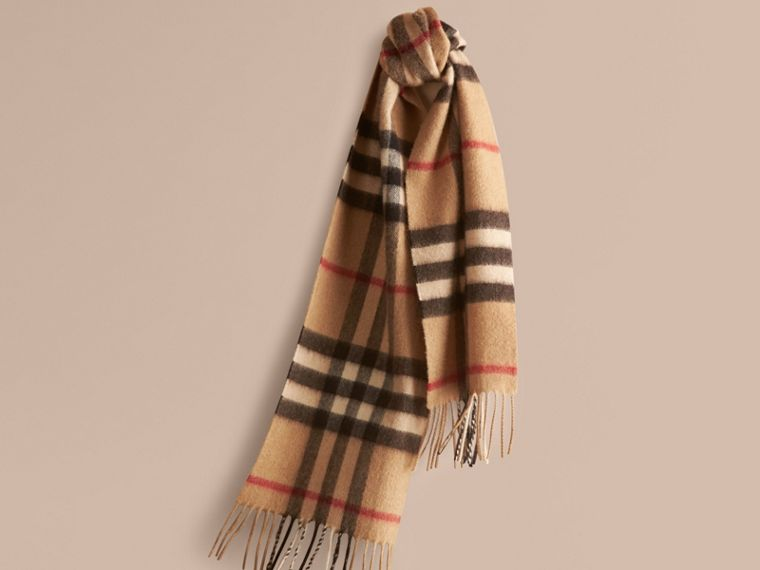 The Mini Classic Check Cashmere Scarf in Camel | Burberry - cell image 4