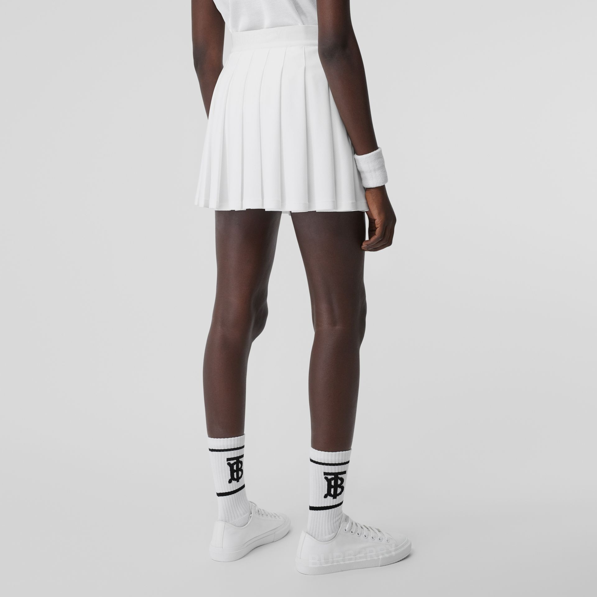 Pleated Jersey Tennis Skirt in White - Women | Burberry Canada - gallery image 2