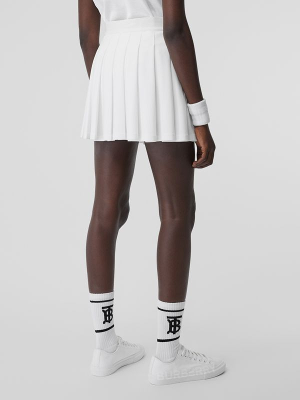 Pleated Jersey Tennis Skirt in White - Women | Burberry - cell image 2