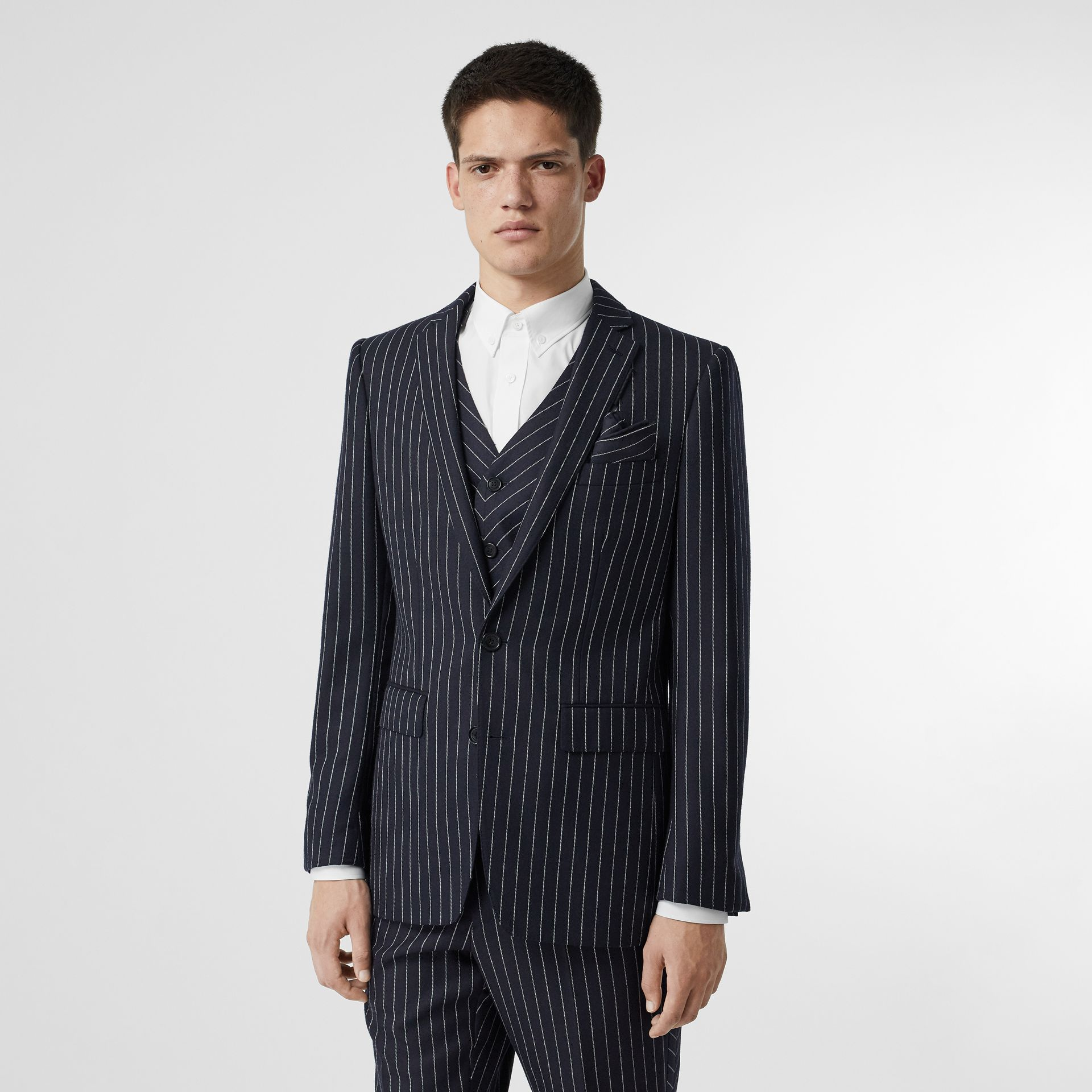 Pinstriped Wool Waistcoat in Dark Navy/white | Burberry Australia - gallery image 4