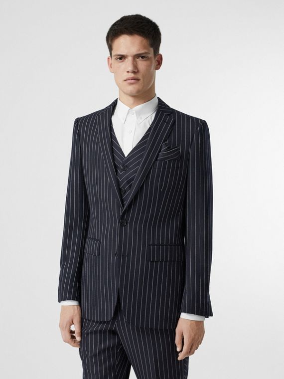 Pinstriped Wool Waistcoat in Dark Navy/white
