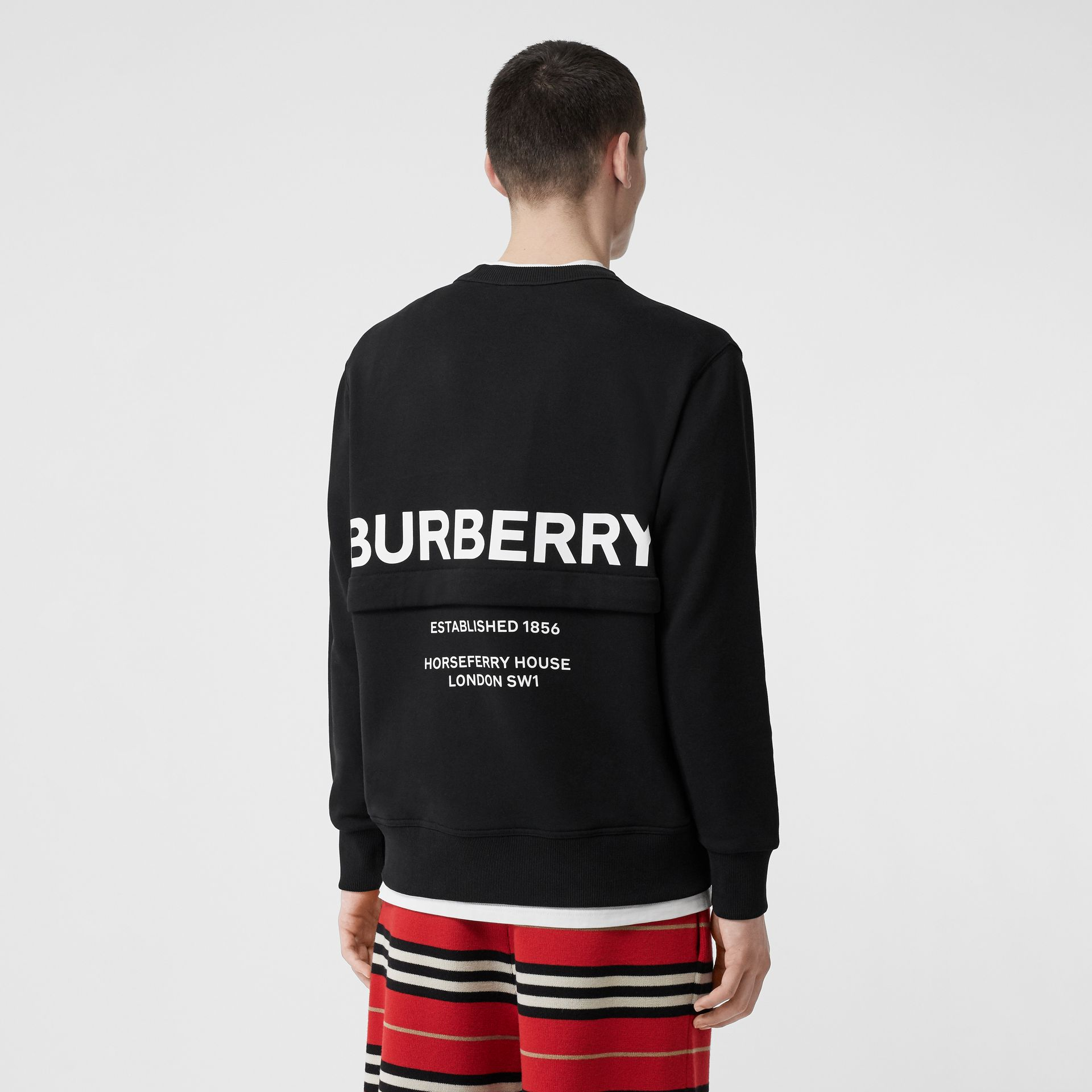 Zip Detail Horseferry Print Cotton Sweatshirt in Black - Men | Burberry - gallery image 4