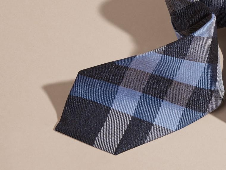 Indigo Cravate moderne en jacquard de soie à motif check Indigo - cell image 1