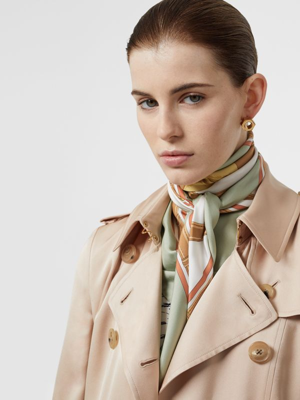 Archive Scarf Print Silk Square Scarf in Stone Green | Burberry - cell image 2