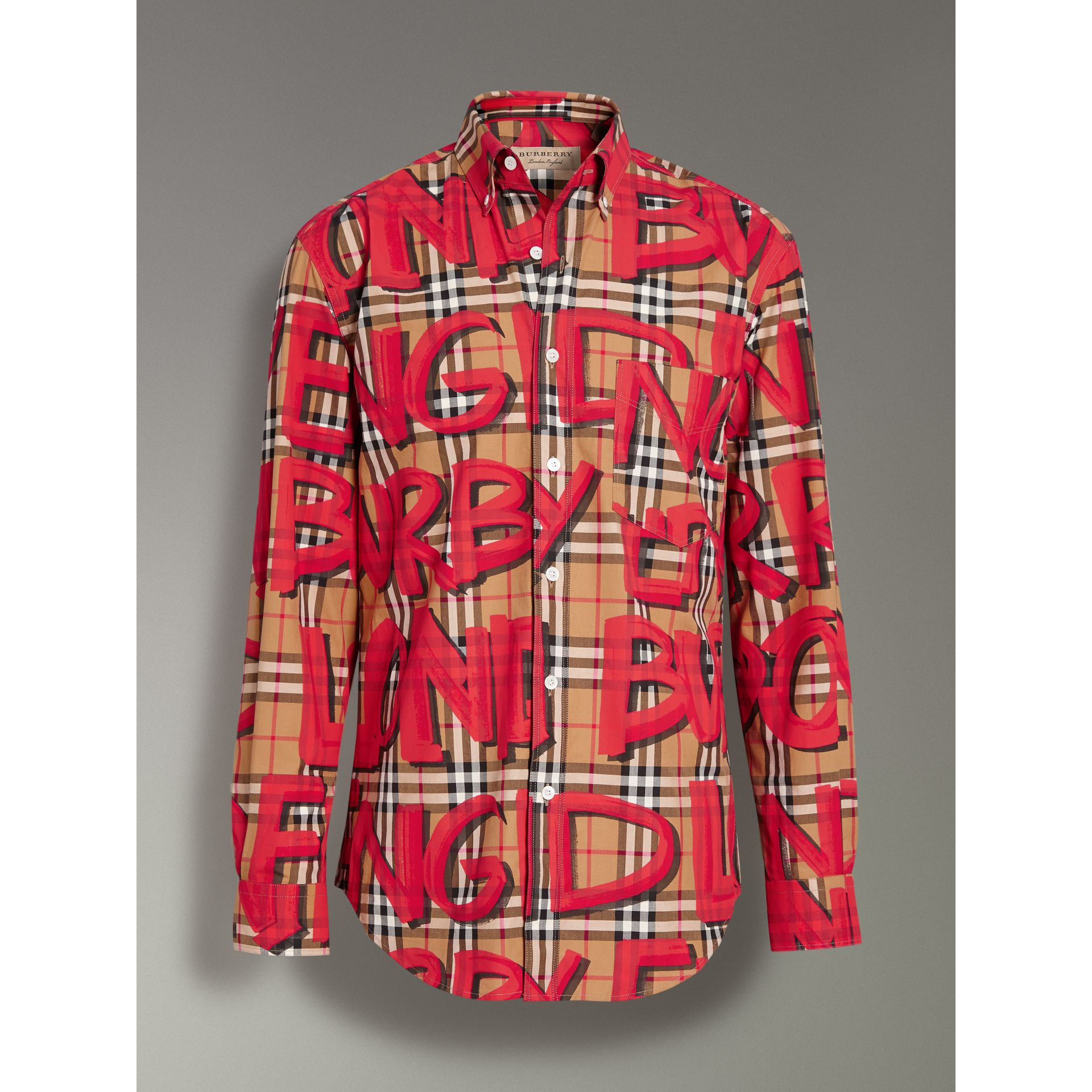 Graffiti Print Vintage Check Shirt in Bright Red - Men | Burberry Australia - gallery image 3