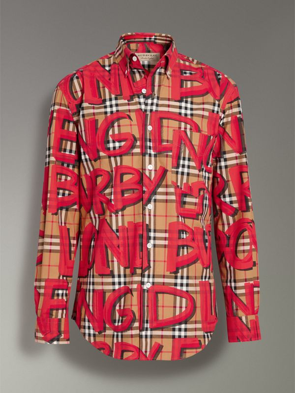 Graffiti Print Vintage Check Shirt in Bright Red - Men | Burberry United Kingdom - cell image 3