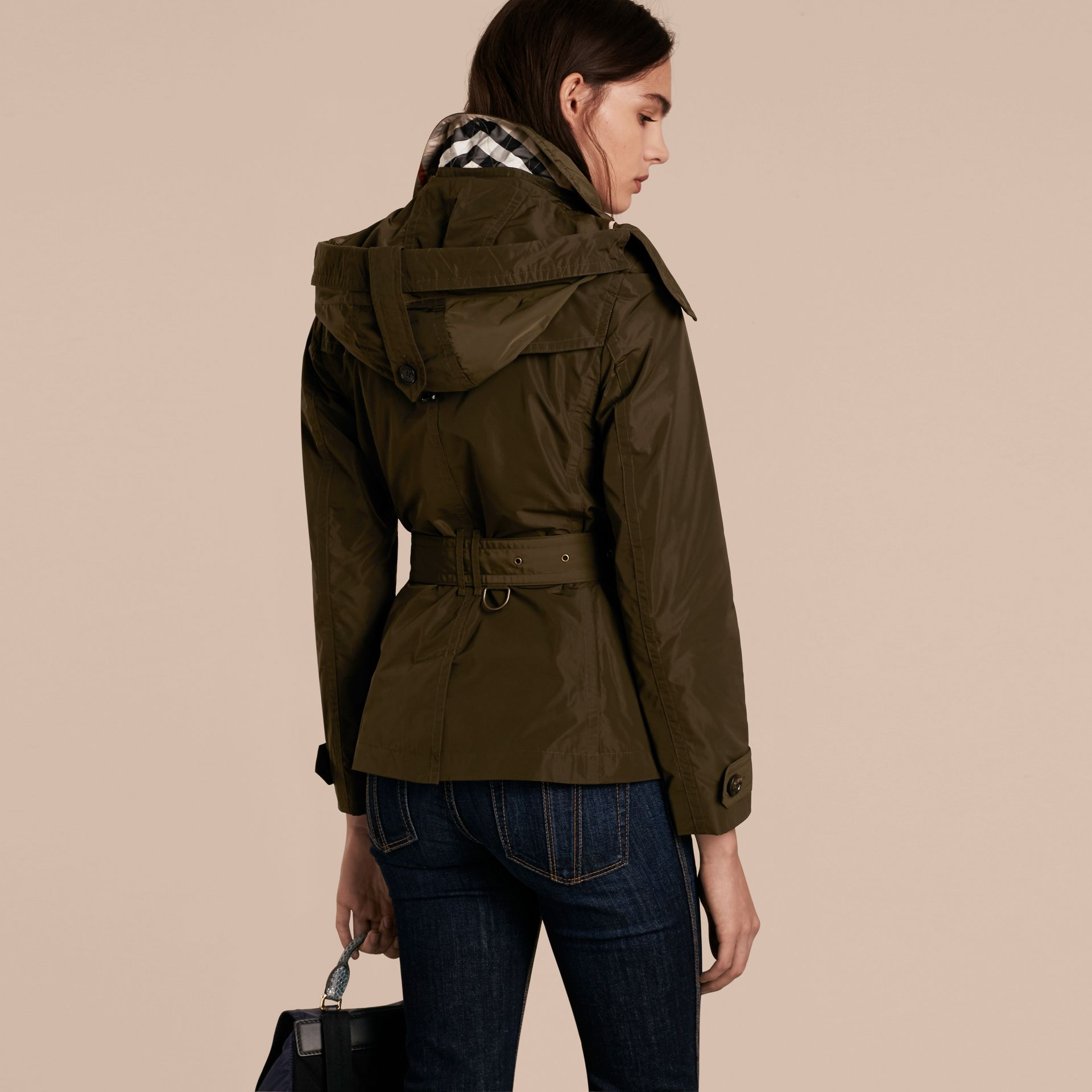 Dark olive Hooded Short Showerproof Trench Coat - gallery image 3