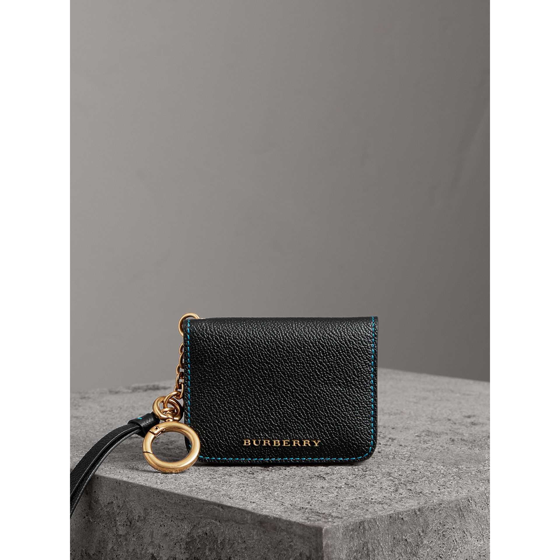 Leather and Haymarket Check ID Card Case Charm in Black/multicolour - Women | Burberry Canada - gallery image 4