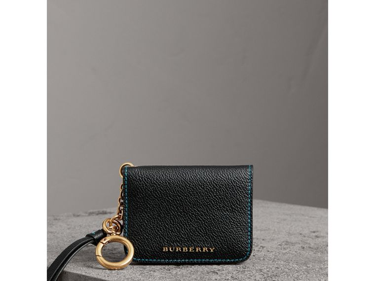 Leather and Haymarket Check ID Card Case Charm in Black/multicolour - Women | Burberry United Kingdom - cell image 4