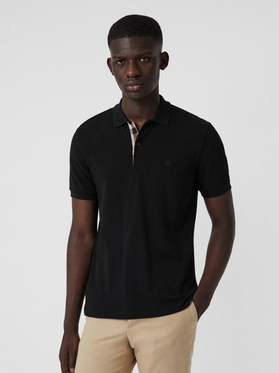 Camisa polo de algodão com tira de botões xadrez (Preto)