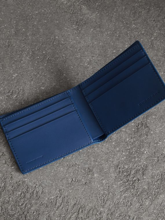 Grainy Leather Bifold Wallet in Bright Ultramarine - Men | Burberry United Kingdom - cell image 3