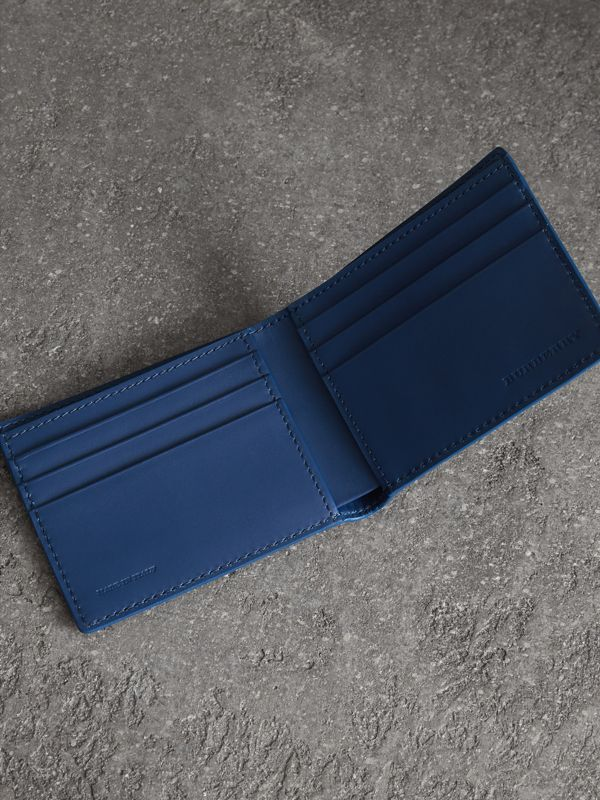 Grainy Leather Bifold Wallet in Bright Ultramarine - Men | Burberry United States - cell image 3