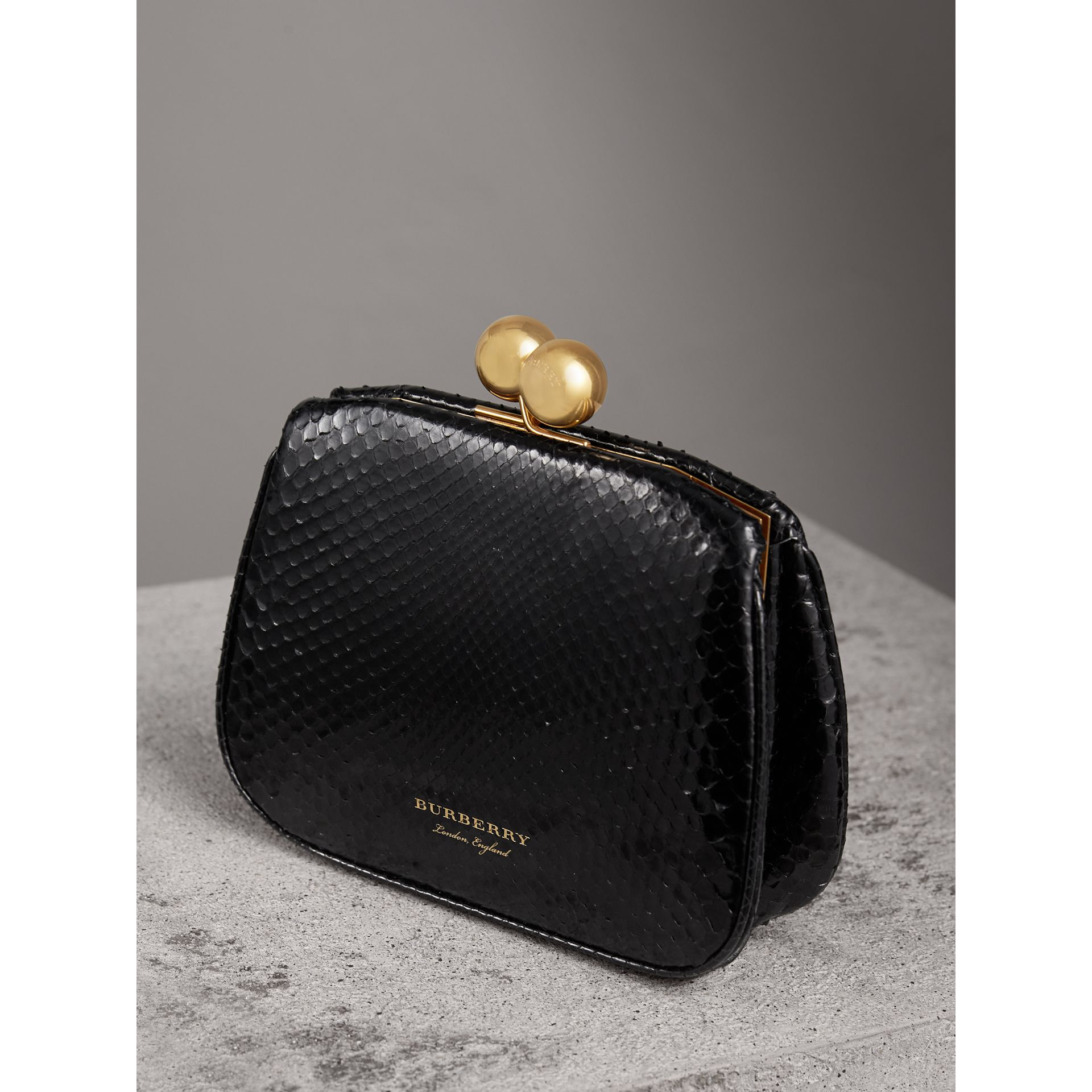 Small Two-tone Python Metal Frame Clutch Bag in Black - Women | Burberry - gallery image 5