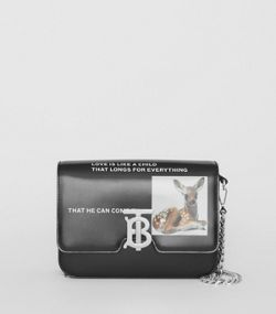 Small Montage Print Leather TB Bag in Black e6635b744682d