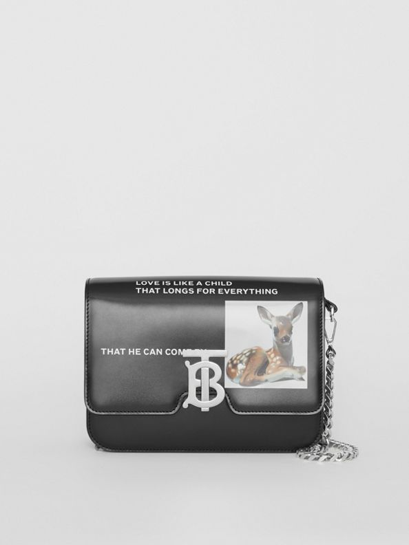 Small Montage Print Leather TB Bag in Black